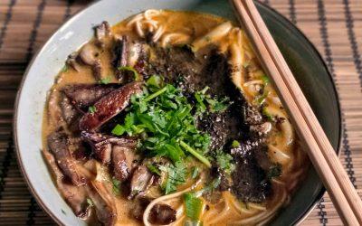 Feelgood Ramen with fried mushrooms and blackened garlic